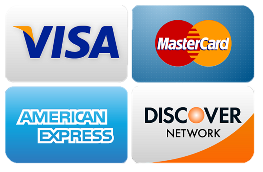 We accept visa, american Express, discover and master card